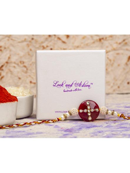 Handmade Beaded Pearl Maroon Kundan Rakhi with Roli Chawal-2