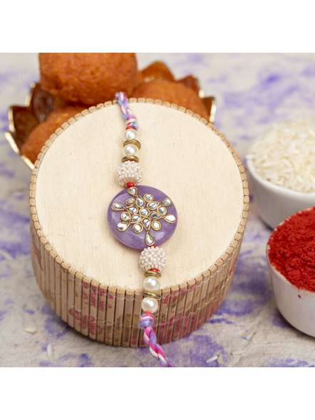 Handmade Beaded Pearl Lavender Kundan Rakhi with Roli Chawal-LAARK13