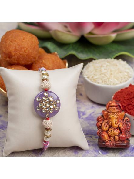 Handmade Beaded Pearl Lavender Kundan Rakhi with Roli Chawal-1