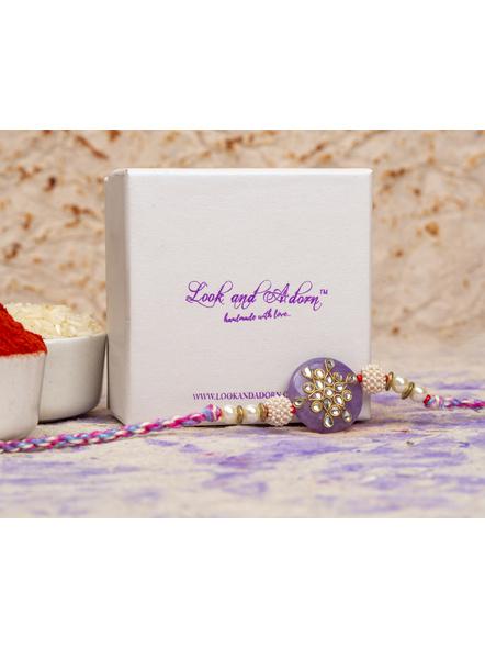 Handmade Beaded Pearl Lavender Kundan Rakhi with Roli Chawal-2