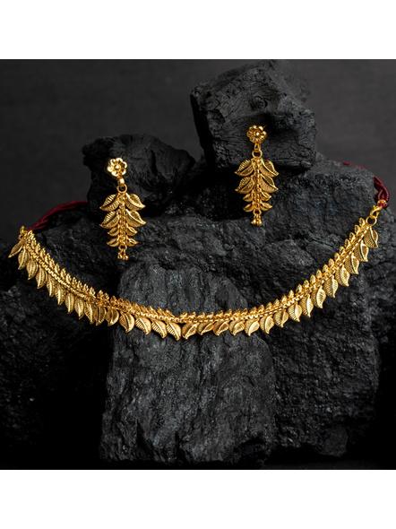 1.5g Gold Polished Mango Leaf Choker Necklace Set with Adjustable Seed Bead Tassel-1