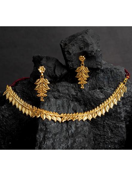 1.5g Gold Polished Mango Leaf Choker Necklace Set with Adjustable Seed Bead Tassel-LAAGP15NLS22