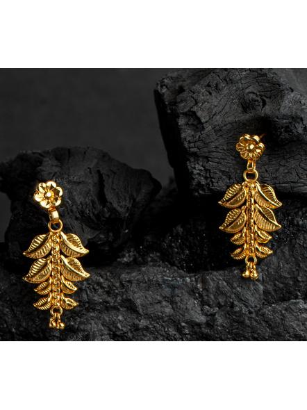 1.5g Gold Polished Mango Leaf Choker Necklace Set with Adjustable Seed Bead Tassel-2