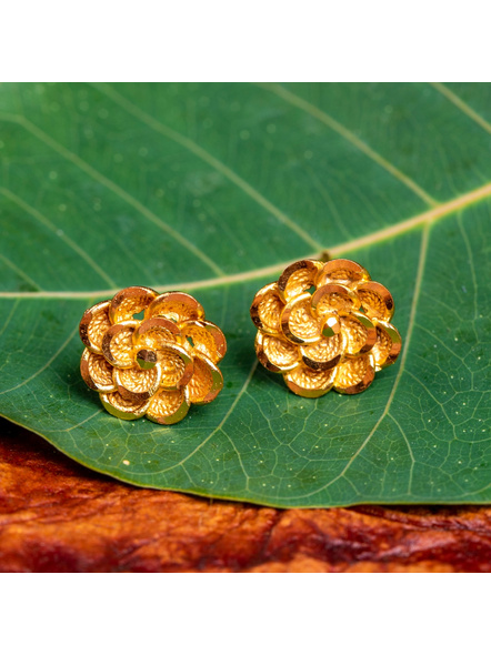 1.5g Gold Polished  Marigold Flower Stud  Earring-LAAER426