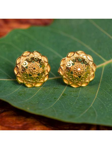 1.5g Gold Polished Designer Floral Stud Earring-LAAER427