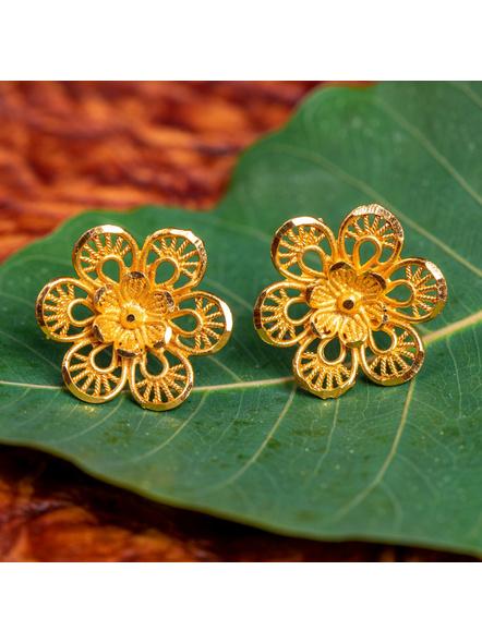 1.5g Gold Polished Jaali Cutwork Flower Stud Earring-LAAER428
