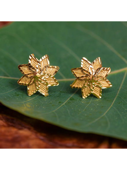1.5g Gold Polished Cute Floral Stud Earring-LAAER429