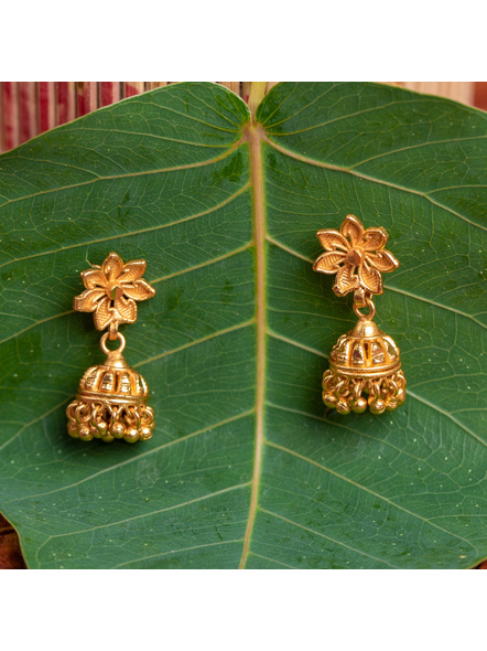 1.5g Gold Polished Cute Small Floral Stud Jhumka Earring-LAAER430