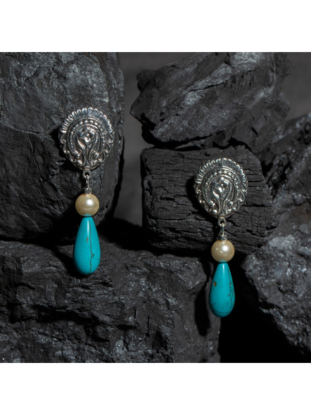 Designer German Silver Floral Stud with Semi Precious Turquoise Drop and Faux Pearl Earring-LAAER432