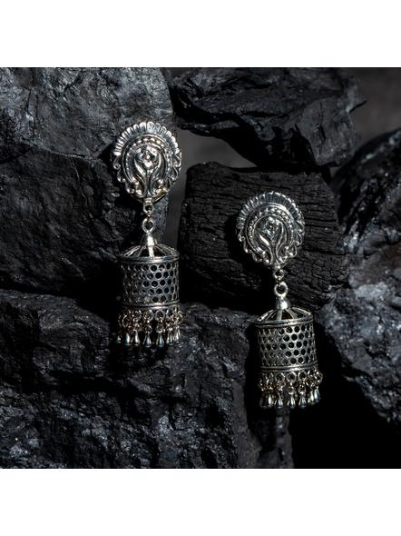 Designer German Silver Floral Stud with Cut Work Jhumka Earring-LAAER433