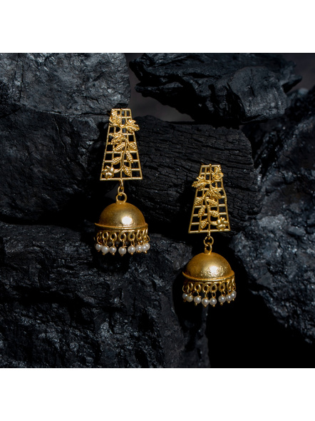 Designer Brass Floral Leaf Stud Jhumka Earring-LAAER434