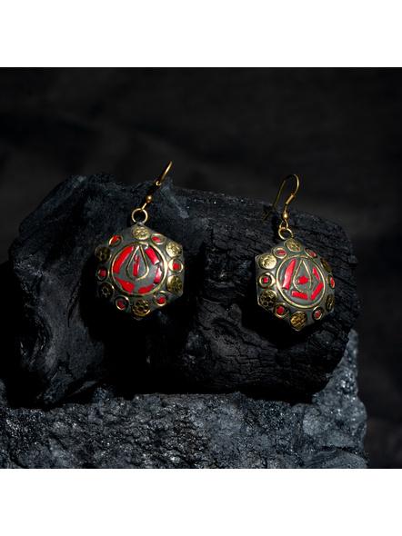 Designer Red Black Hexagon Tibetan Earring-LAAER435
