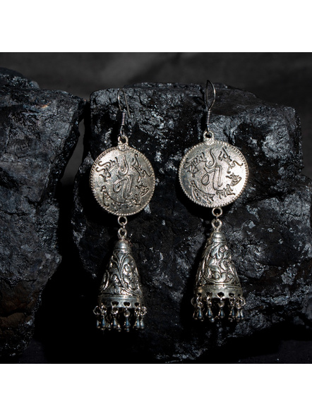 Designer German Silver MA Stud Cone Jhumka Earring-LAAER437