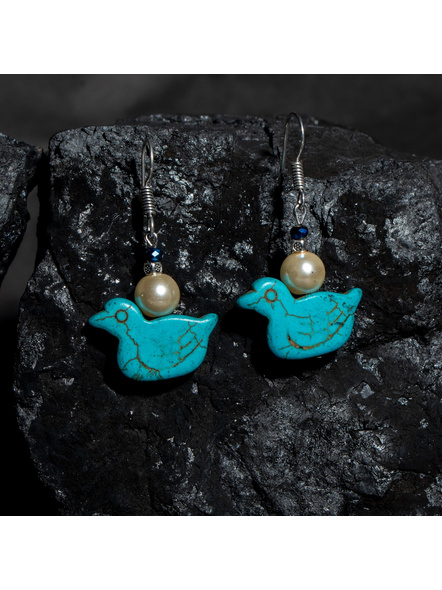 Designer Semi Precious Turquoise Duck Earring with Faux Pearl and Blue Crystal-LAAER438