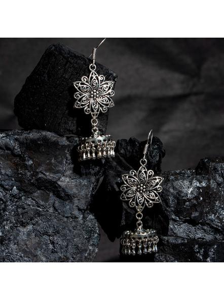 German Silver Designer Floral Jhumka Earring-LAAER439