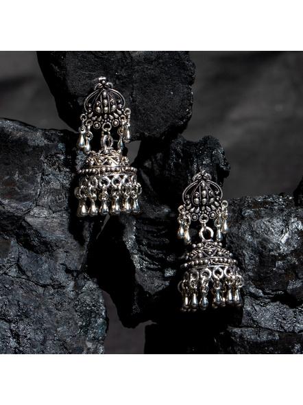 Designer German Silver Stud Jhumka Earring-LAAER440