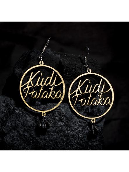 Quirky Golden Kudi Pataka Earring with Ghungroo-LAAER423