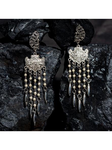 Designer German Silver Peacock Stud Dangler with Faux Pearl Chain Drops Earring-LAAER441