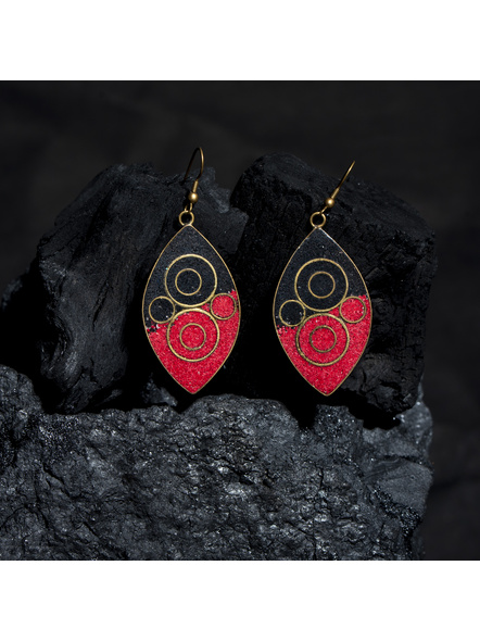Designer Red Black Leaf Tibetan Earring-LAAER436