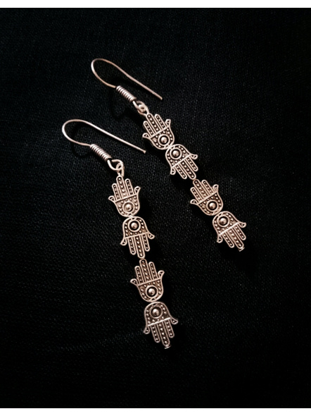 German Silver Designer Hamsa Hand Dangler Earring-LAAER442