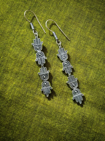 German Silver Designer Hamsa Hand Dangler Earring-Silver-German Silver-Adult-Female-8cm-1