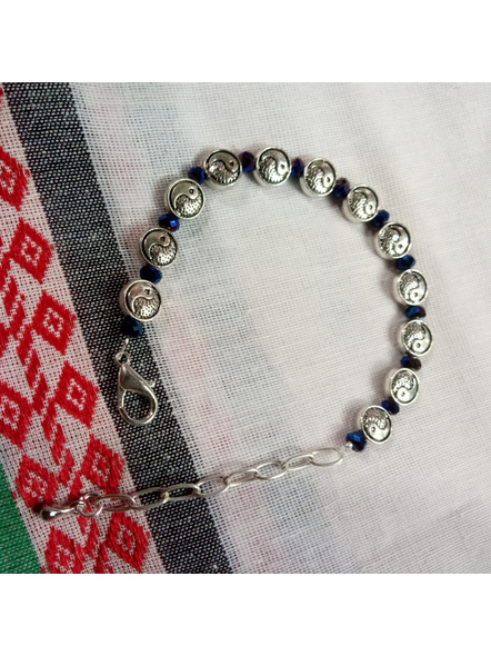 Designer Yin Yang Charm Bracelet with Midnight Blue Crystal and Drop-1