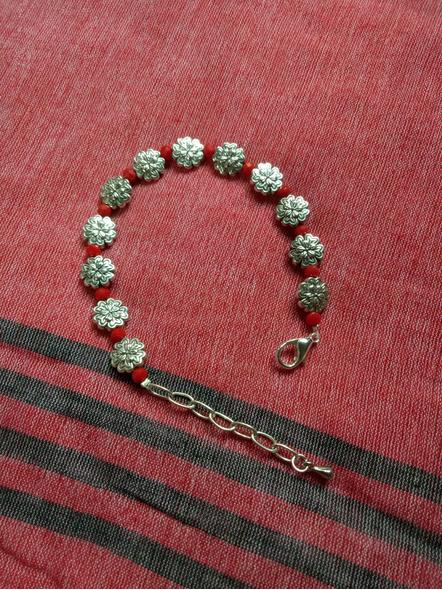 Designer German Silver Floral Bracelet with Red Crystal and Drop-1