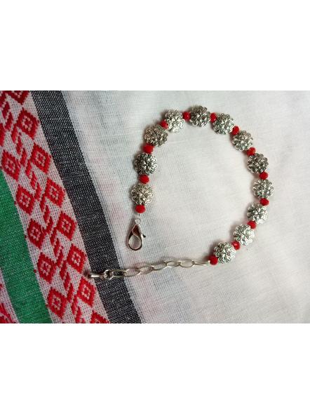 Designer German Silver Floral Bracelet with Red Crystal and Drop-2