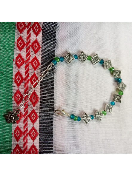 Designer Rhombus Charm Bracelet with Blue Green Crystal and Floral Charm-1