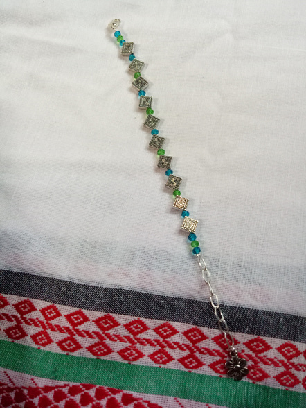 Designer Rhombus Charm Bracelet with Blue Green Crystal and Floral Charm-LAAHB020