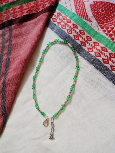 Designer German Silver Pipe Anklet with Green Blue Crystal and Drops-1