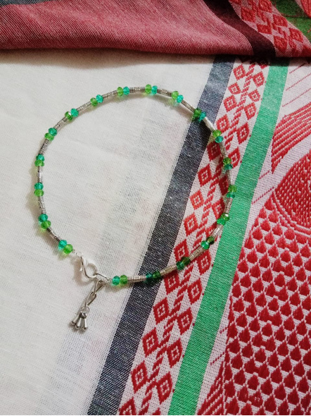 Designer German Silver Pipe Anklet with Green Blue Crystal and Drops-2