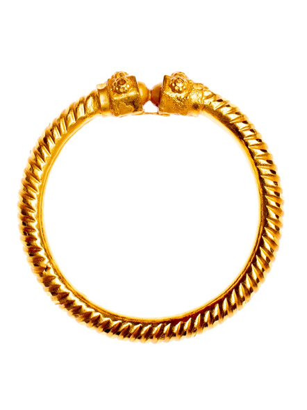 Traditional Ethnic Jewellery 1.5g Gold Polished Designer Spiral Bangle Sarada Bala 2.4size - 1 Piece for Women-LAAGP15BG018