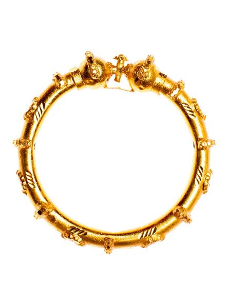 Traditional Ethnic Jewellery 1.5g Gold Polished Designer Bangle Manipuri Bala 2.4size - 1 Piece for Women-LAAGP15BG019