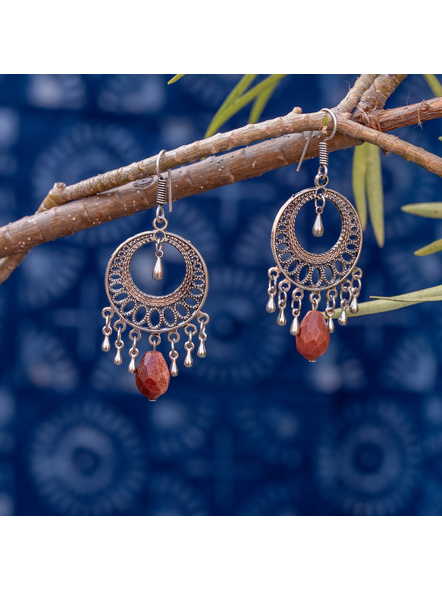 Look and Adorn Designer German Silver Round  Earring with Sand Stone Droplet-LAAER361