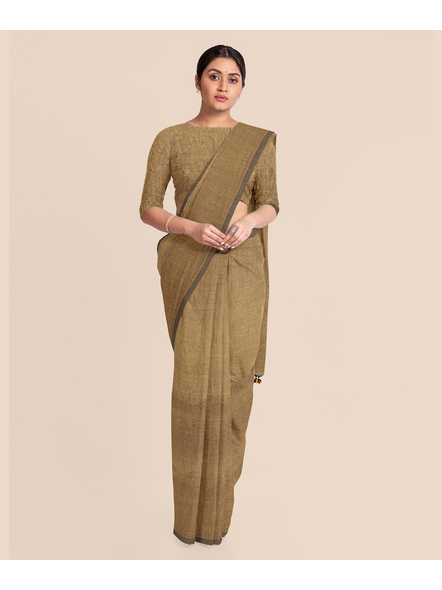 Mercerized Handloom Light Brown Khadi Cotton Saree with Pompom and Blouse Piece-2