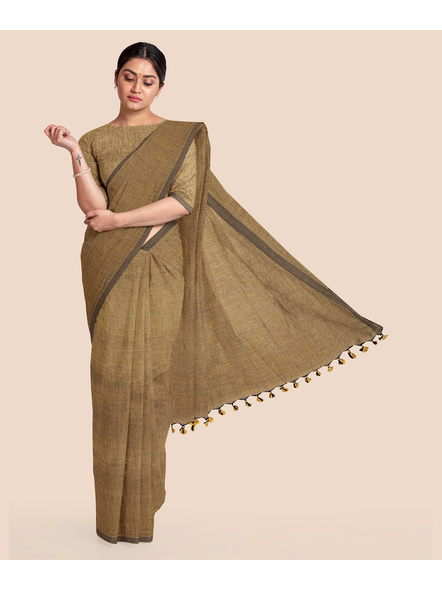 Mercerized Handloom Light Brown Khadi Cotton Saree with Pompom and Blouse Piece-LAAMHCWBP001