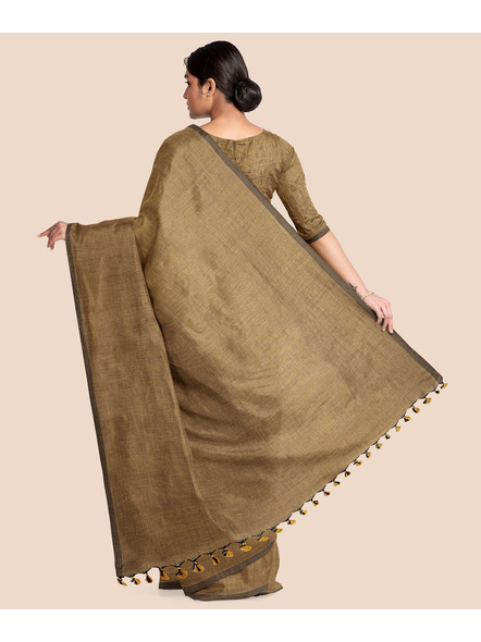 Mercerized Handloom Light Brown Khadi Cotton Saree with Pompom and Blouse Piece-1