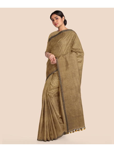 Mercerized Handloom Light Brown Khadi Cotton Saree with Pompom and Blouse Piece-3