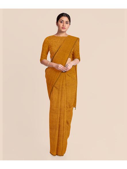 Mercerized Handloom Mustard Khadi Cotton Saree with Pompom and Blouse Piece-2