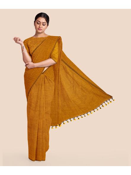Mercerized Handloom Mustard Khadi Cotton Saree with Pompom and Blouse Piece-LAAMHCWBP003