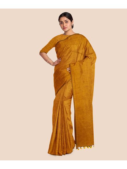 Mercerized Handloom Mustard Khadi Cotton Saree with Pompom and Blouse Piece-3