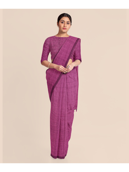 Mercerized Handloom Pink Khadi Cotton Saree with Pompom and Blouse Piece-2