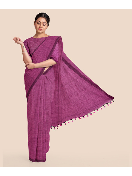 Mercerized Handloom Pink Khadi Cotton Saree with Pompom and Blouse Piece-LAAMHCWBP004