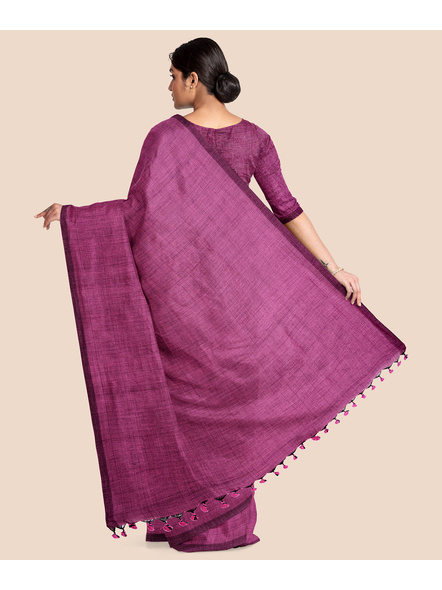 Mercerized Handloom Pink Khadi Cotton Saree with Pompom and Blouse Piece-1