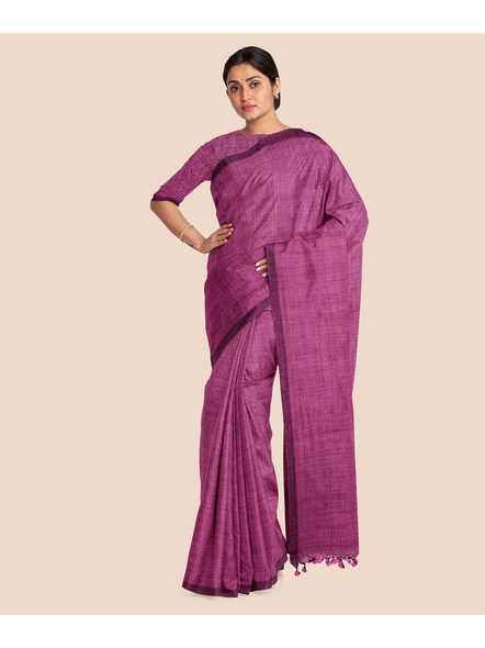 Mercerized Handloom Pink Khadi Cotton Saree with Pompom and Blouse Piece-3