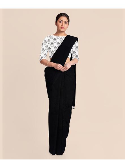 Mercerized Handloom Black Khadi Cotton Saree with Pompom and Blouse Piece-2