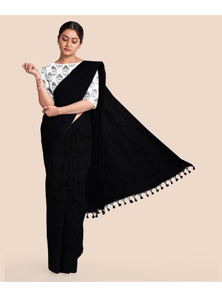 Mercerized Handloom Black Khadi Cotton Saree with Pompom and Blouse Piece-LAAMHCWBP005