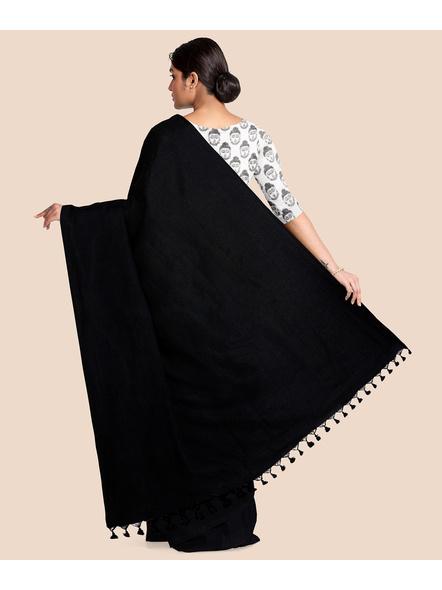 Mercerized Handloom Black Khadi Cotton Saree with Pompom and Blouse Piece-1