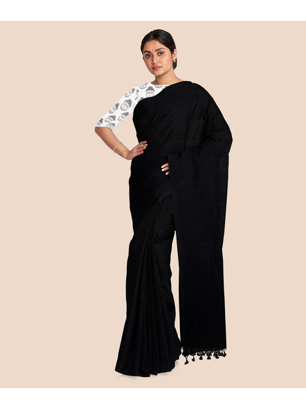 Mercerized Handloom Black Khadi Cotton Saree with Pompom and Blouse Piece-3